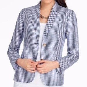 Talbots Blue Gingham Check Blazer Jacket Size 12